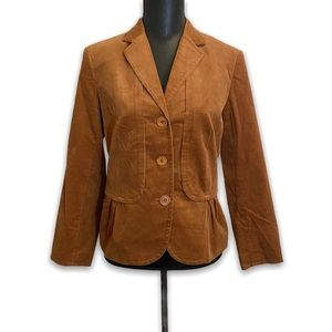 Talbots Micro Corduroy Blazer Rust Size 10P Fitted
